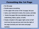 formatting the 1st page