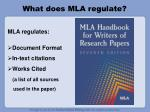 what does mla regulate