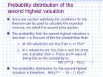 probability distribution of the second highest valuation