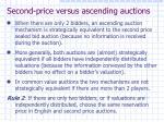 second price versus ascending auctions