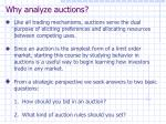 why analyze auctions