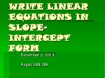 write linear equations in slope intercept form