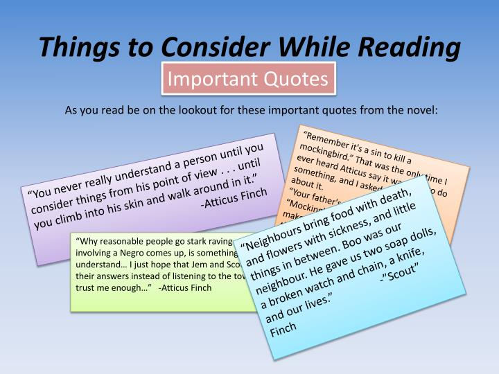 Things to Consider While Reading