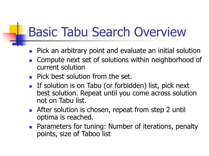 Basic tabu search overview