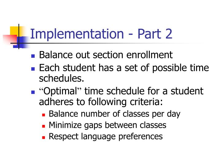 Implementation - Part 2
