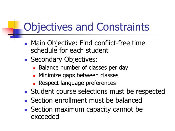 Objectives and Constraints