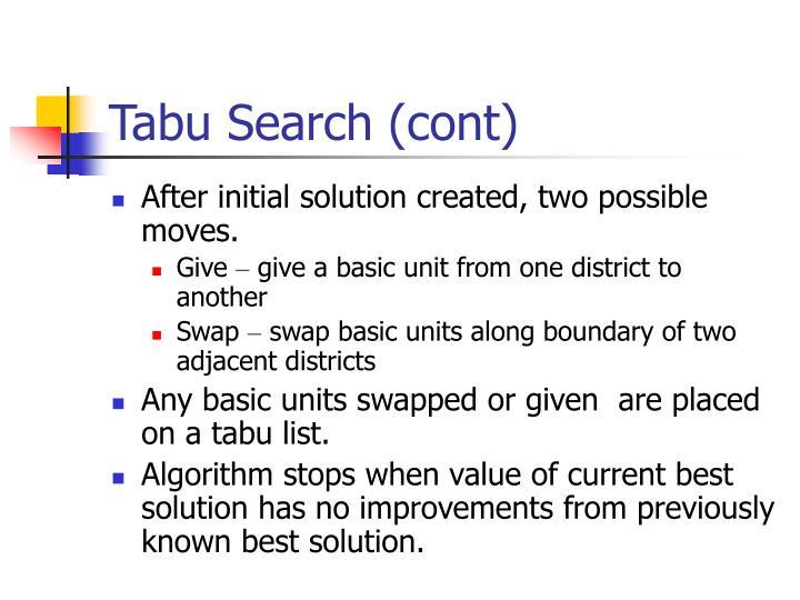 Tabu Search (cont)