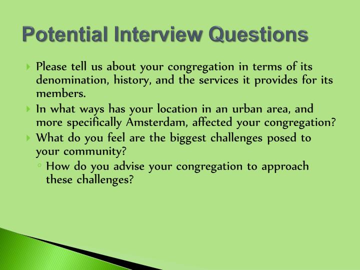 Potential Interview Questions
