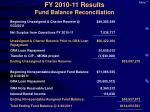 fy 2010 11 results fund balance reconciliation