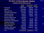 fy 2011 12 first quarter update general fund resources