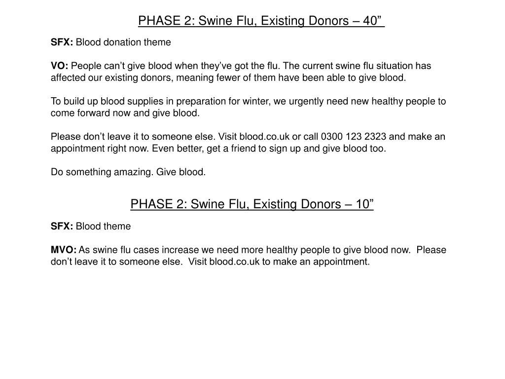 PPT - NHSBT Swine Flu Blood Stock Build 2009 CIM Excellence