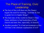 the place of training civic leadership