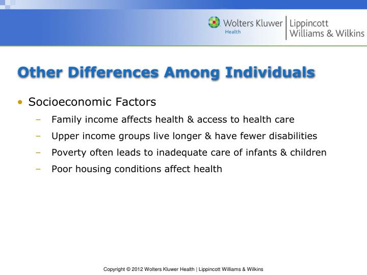 Other Differences Among Individuals