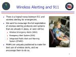 wireless alerting and 911