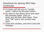 directions for saving mp3 files continued