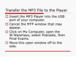transfer the mp3 file to the player