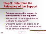 step 3 determine the relevance of the support