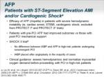 afp patients with st segment elevation ami and or cardiogenic shock a