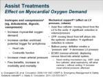 assist treatments effect on myocardial oxygen demand