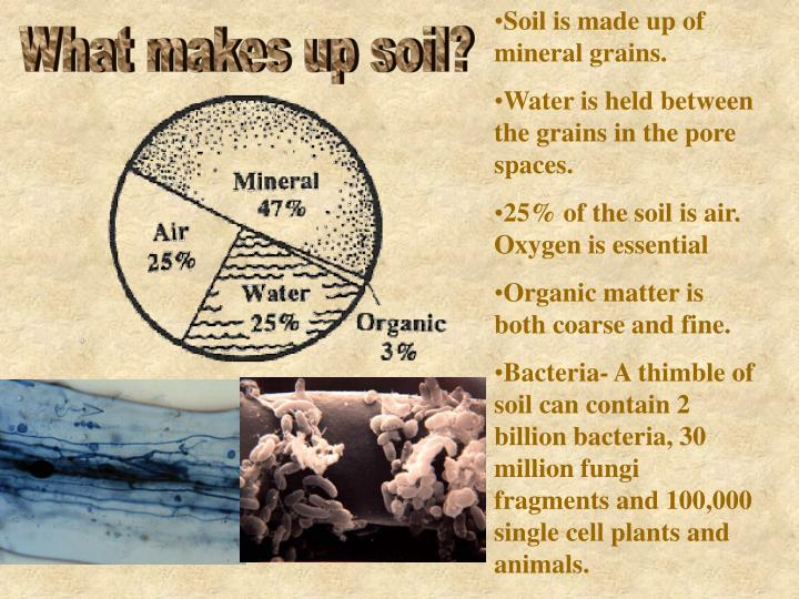 Soil is made up of mineral grains.