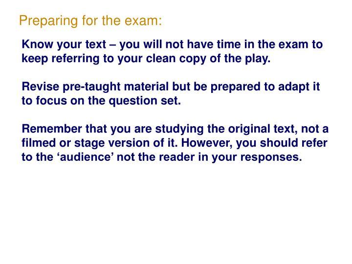Preparing for the exam: