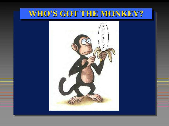 "who s got the monkey concept of William oncken, jr, and donald l wass ""management time: who's got the monkey"" harvard business review press 33-45 rpt in hbr's 10 must reads on managing yourself boston: harvard business review press, 2010 print."