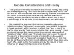 general considerations and history