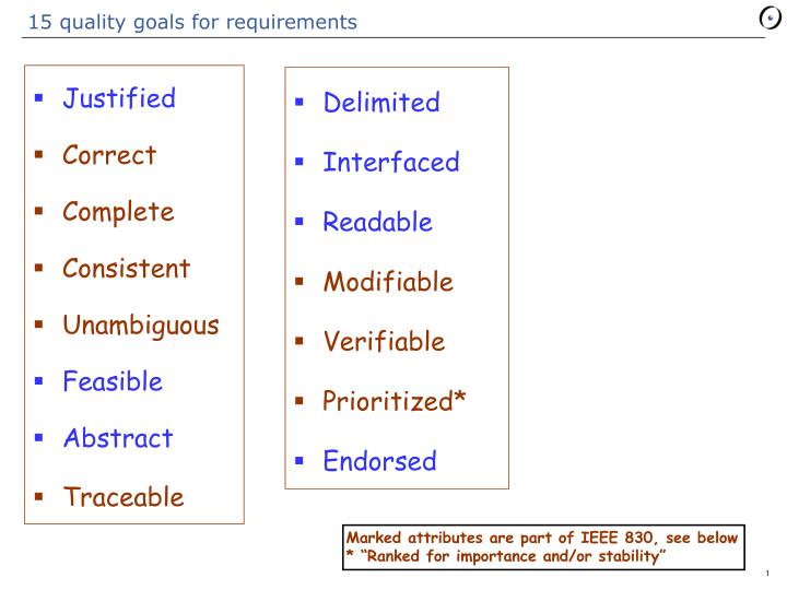 15 quality goals for requirements