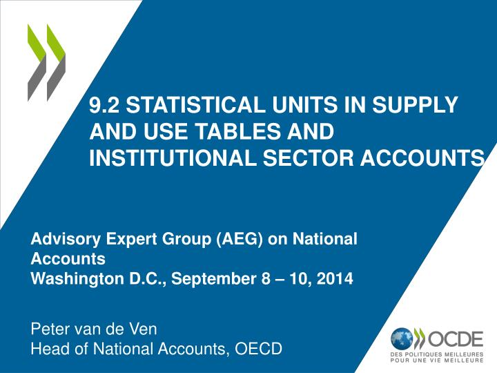 9 2 statistical units in supply and use tables and institutional sector accounts n.