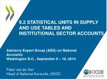 9 2 statistical units in supply and use tables and institutional sector accounts