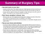 summary of burglary tips
