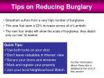 tips on reducing burglary