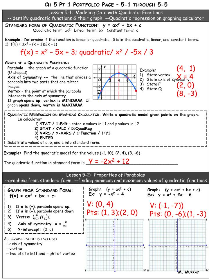 Ppt Standard Form Of Quadratic Function Y Ax 2 Bx C
