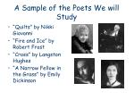 a sample of the poets we will study