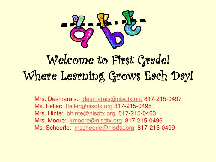 welcome to first grade where learning grows each day n.