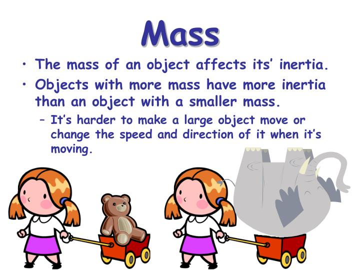 finding the mass of an unknown object using its inertia The mass of an object is a measure of its inertia if an object has a large mass it requires a large force to set it in motion or to change its velocity to calculate a value for the force tending to pull the mass down the inclined plane we must find the component of f which acts in that direction ie the.
