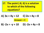 17 the point 8 6 is a solution to which of the following equations
