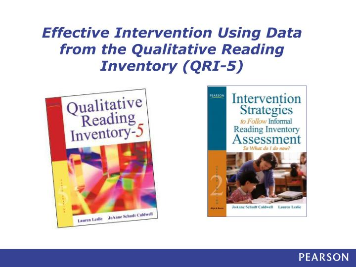 effective intervention using data from the qualitative reading inventory qri 5 n.