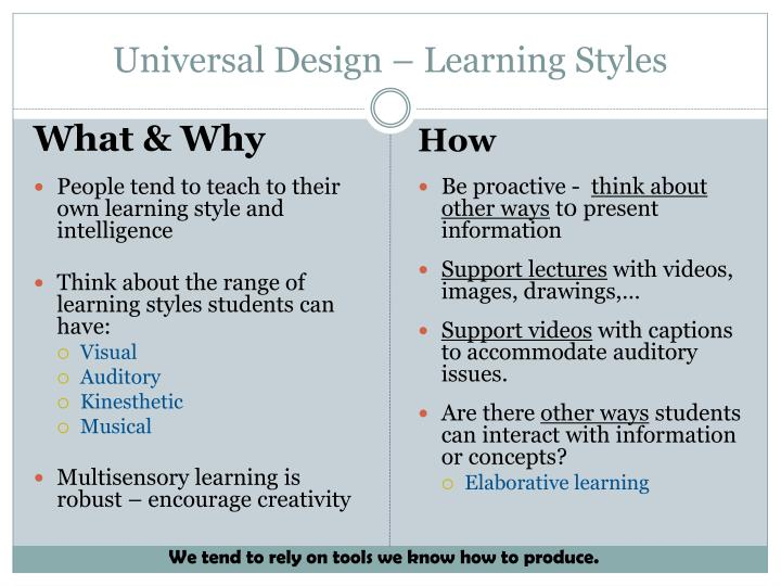 Universal Design – Learning Styles