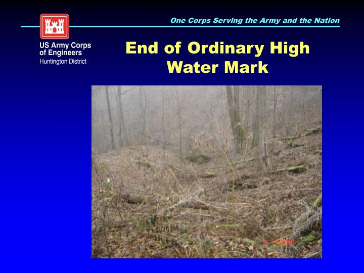 End of Ordinary High Water Mark