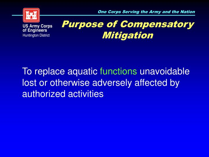Purpose of Compensatory Mitigation