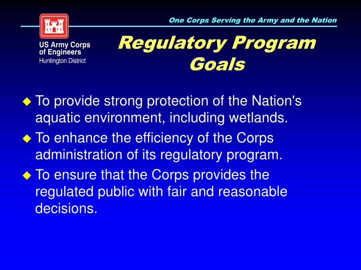 Regulatory program goals