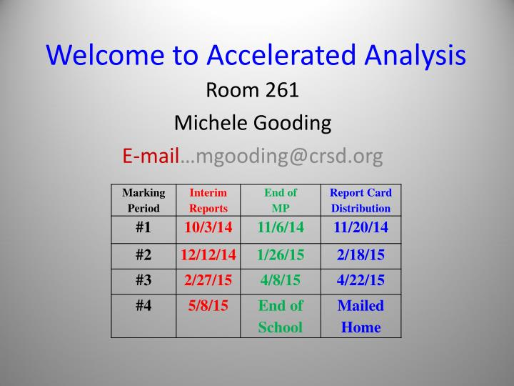 welcome to accelerated analysis n.