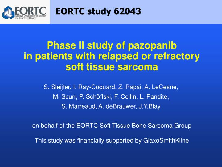 phase ii study of pazopanib in patients with relapsed or refractory soft tissue sarcoma n.