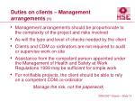 duties on clients management arrangements 1