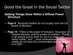 good the great in the social sector