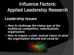 influence factors applied leadership research1
