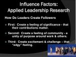 influence factors applied leadership research4