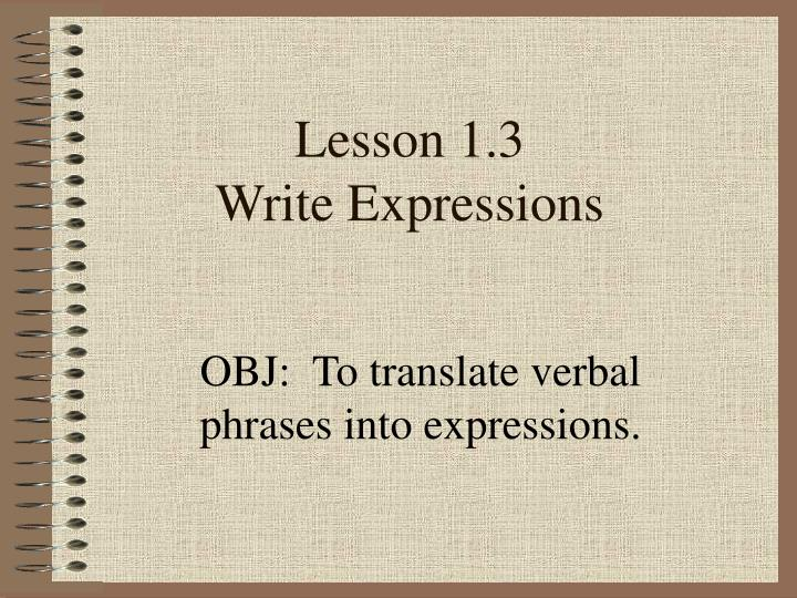lesson 1 3 write expressions n.