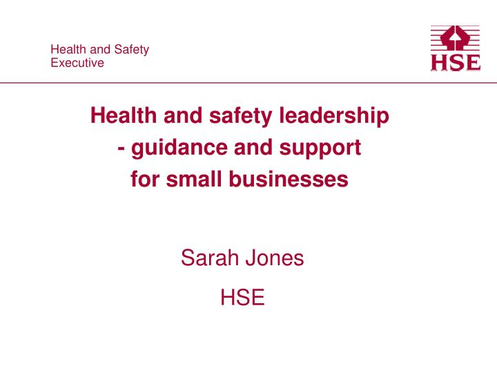 health and safety leadership guidance and support for small businesses n.